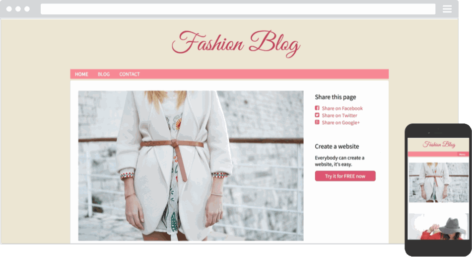 Mobile responsive template for a fashion blog